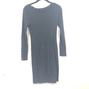 Cache Ribbed Neck Sweater Dress